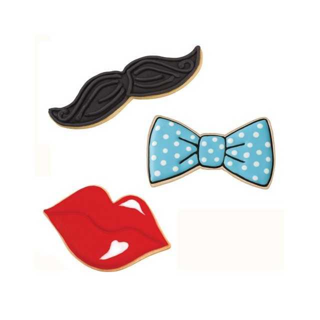 3 emporte pieces Moustache, bouche, noeud Wilton
