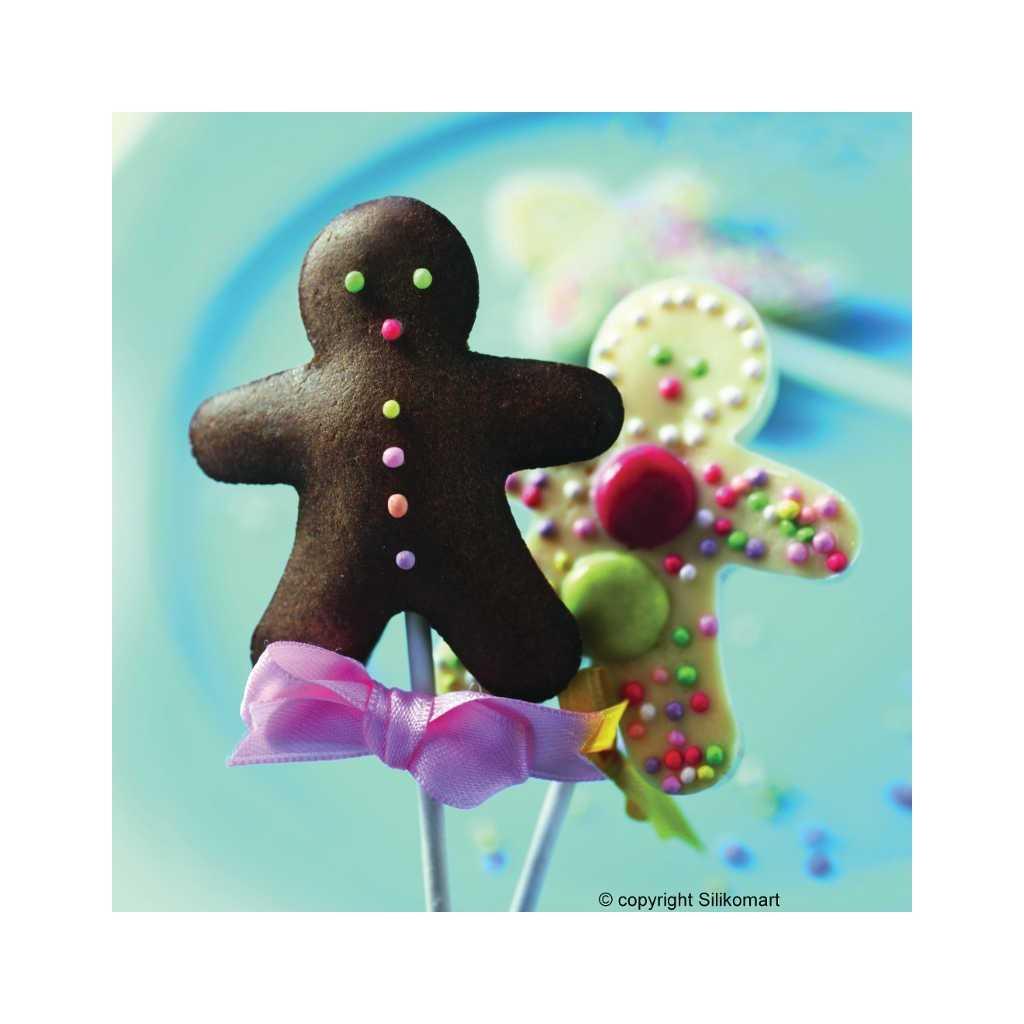 Moule à cake pops ou sucettes bonhomme en silicone Wonder Cakes