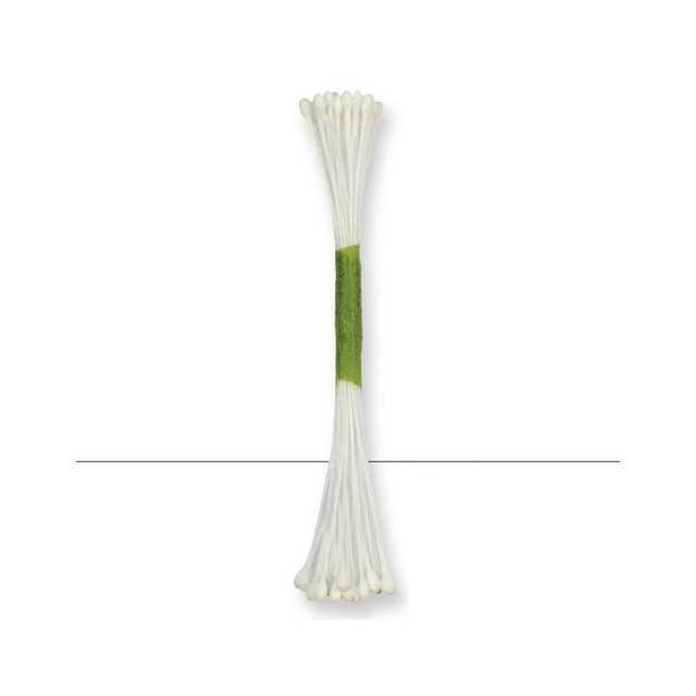 50 Etamines blanc pour fleurs - tetes 3 mm