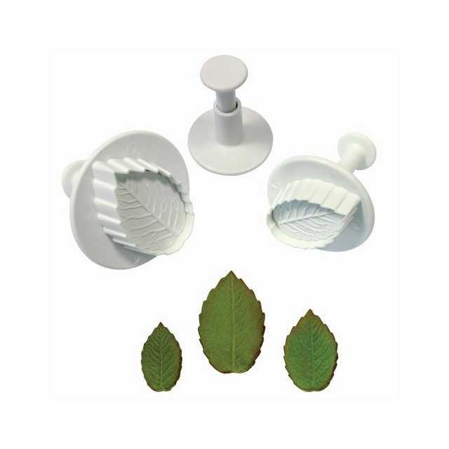 3 Emporte-pièces poussoir feuilles de rose