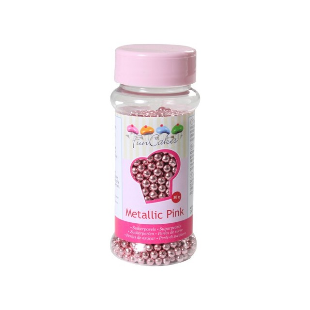 Perles de sucre rose metallique 80 gr