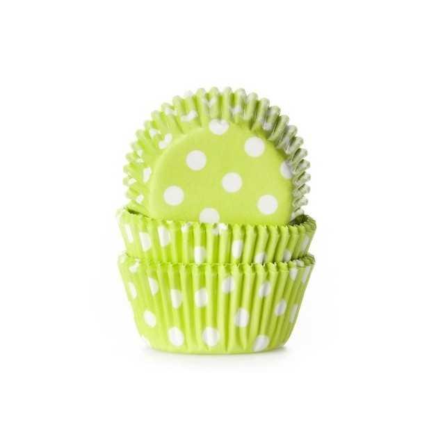 HoM - 60 mini caissettes cupcakes à pois vert acidulé