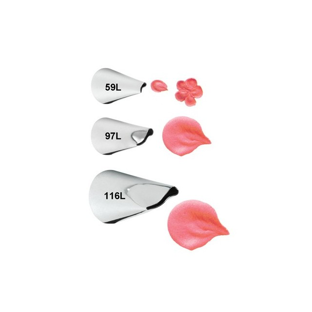 Kit 3 douilles pétal de fleur 059. 097. 116 Wilton