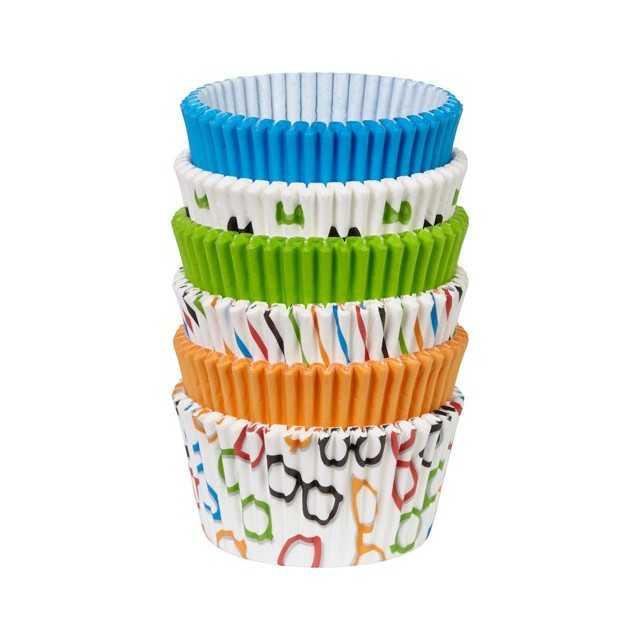 Wilton - 150 caissettes cupcake bleu, orange, vert, lunettes