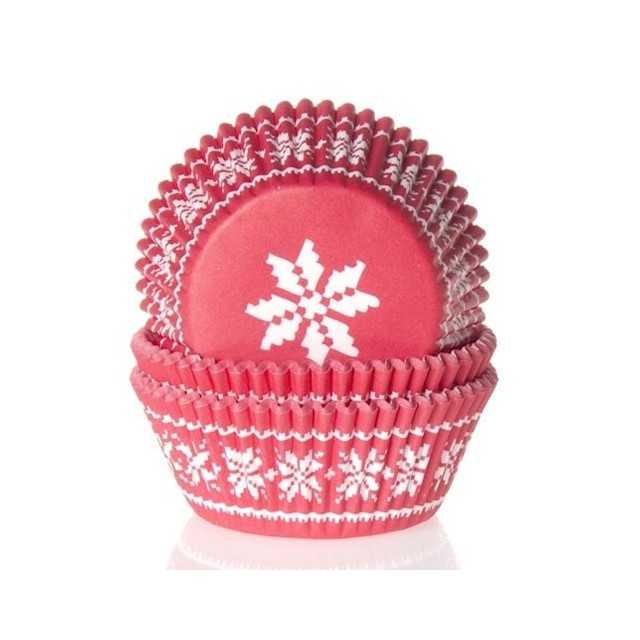 HoM - 50 Caissettes Cupcakes flocon blanc sur fond rouge