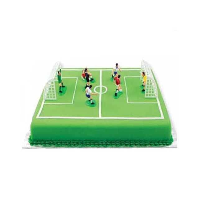 Décorations 6 joueurs de foot, arbitre et cages en plastique