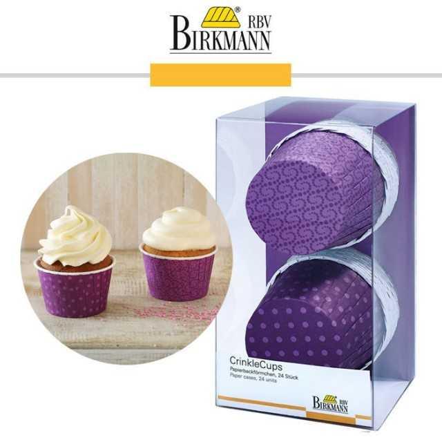 CrinkleCups - 24 caissettes muffins cupcakes à pois violet
