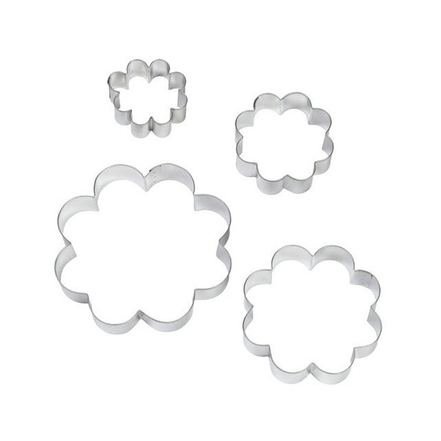 Wilton - 4 emporte-pièces fleurs métal de 5 à 12 cm