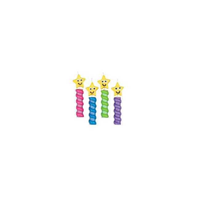 Wilton - 4 bougies étoiles sourire - H8cm