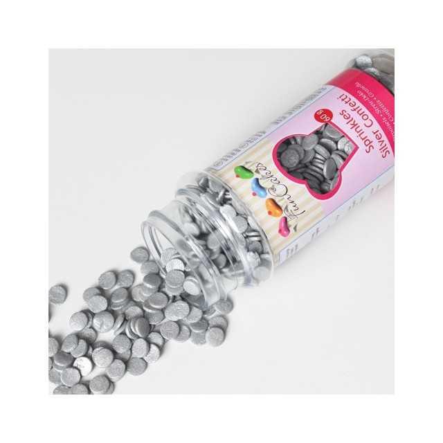 Confettis sucre argentés Ø6 mm