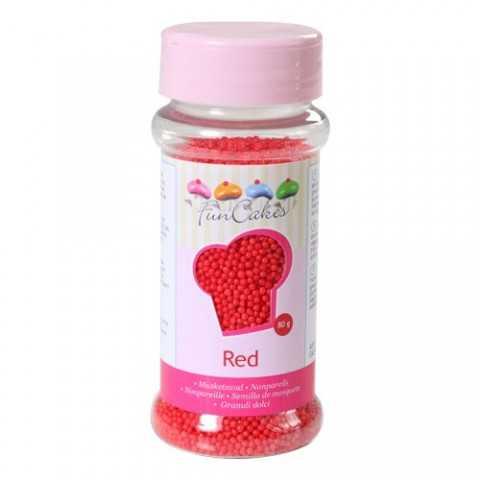 Microbilles de sucre rouge Funcakes 80 gr