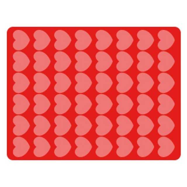 Tapis en silicone pour chocolat - Impression coeurs de 44x34 mm