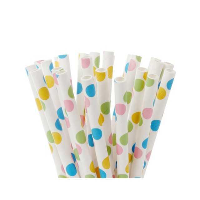 20 Pailles papier pour cake pops motif pois mutlicolores HoM