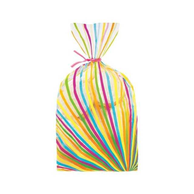 20 Sachets à biscuits ou bonbons rayures couleurs Wilton