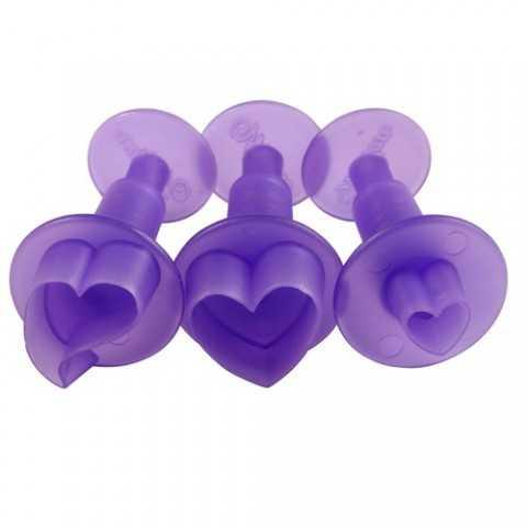 Wilton - 3 Emporte-pièces coeur à poussoir