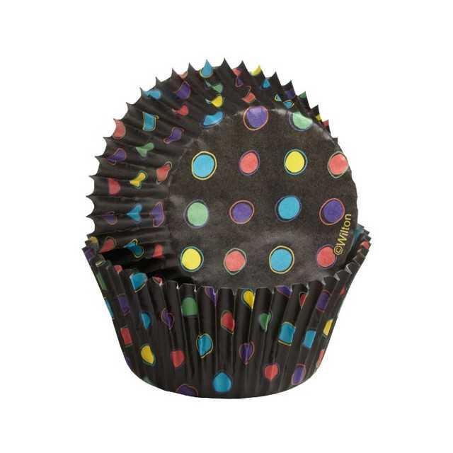 75 caissettes cupcake noir & pois néon Wilton
