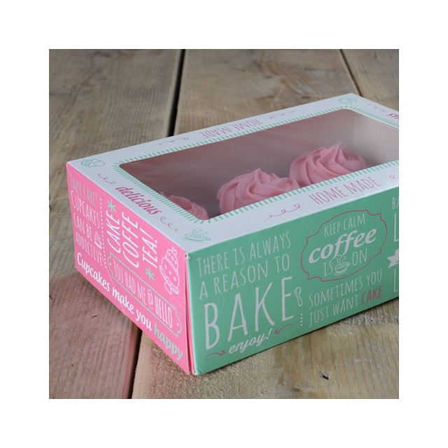 3 Boites à cupcakes carton vert et rose - pr 6 cupcakes