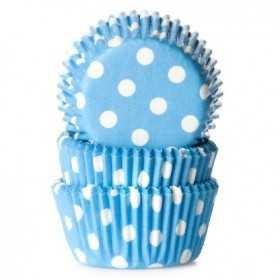 HoM - 60 mini caissettes cupcakes bleu clair à pois