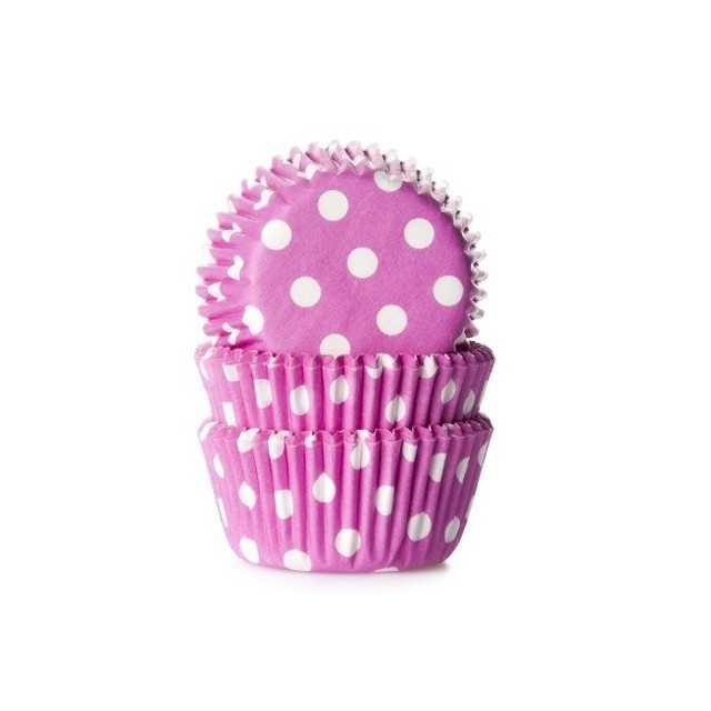 HoM - 60 mini caissettes cupcakes à pois rose