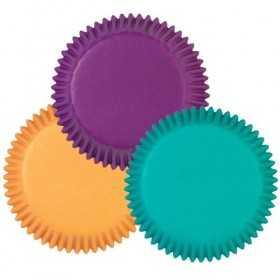 Wilton - 100 mini caissettes violet, turquoise, jaune