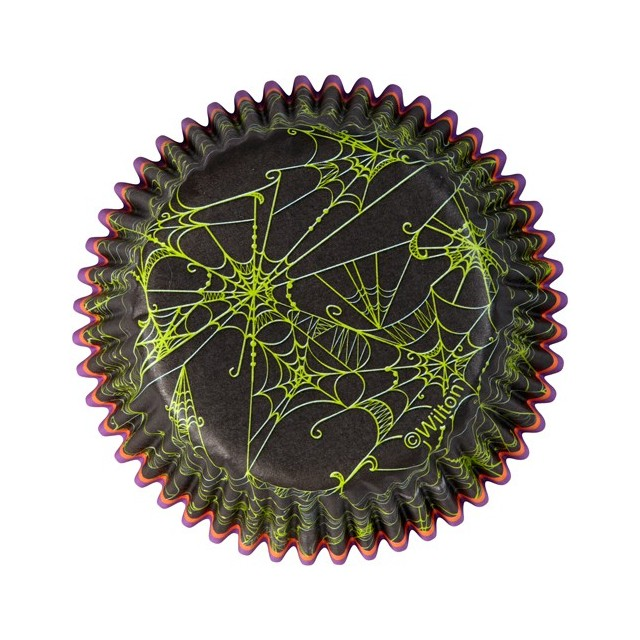 Wilton - 75 caissettes cupcakes noir imprimé vert toile araignée