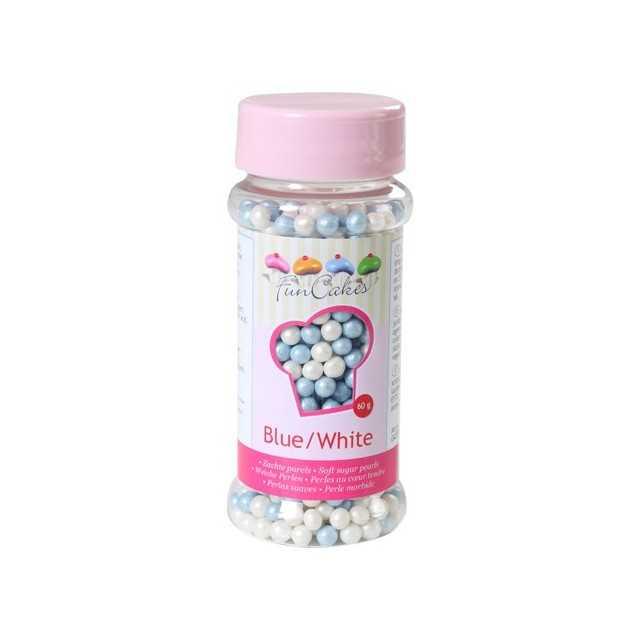 Perles de sucre bleu blanc nacré Funcakes 80 gr