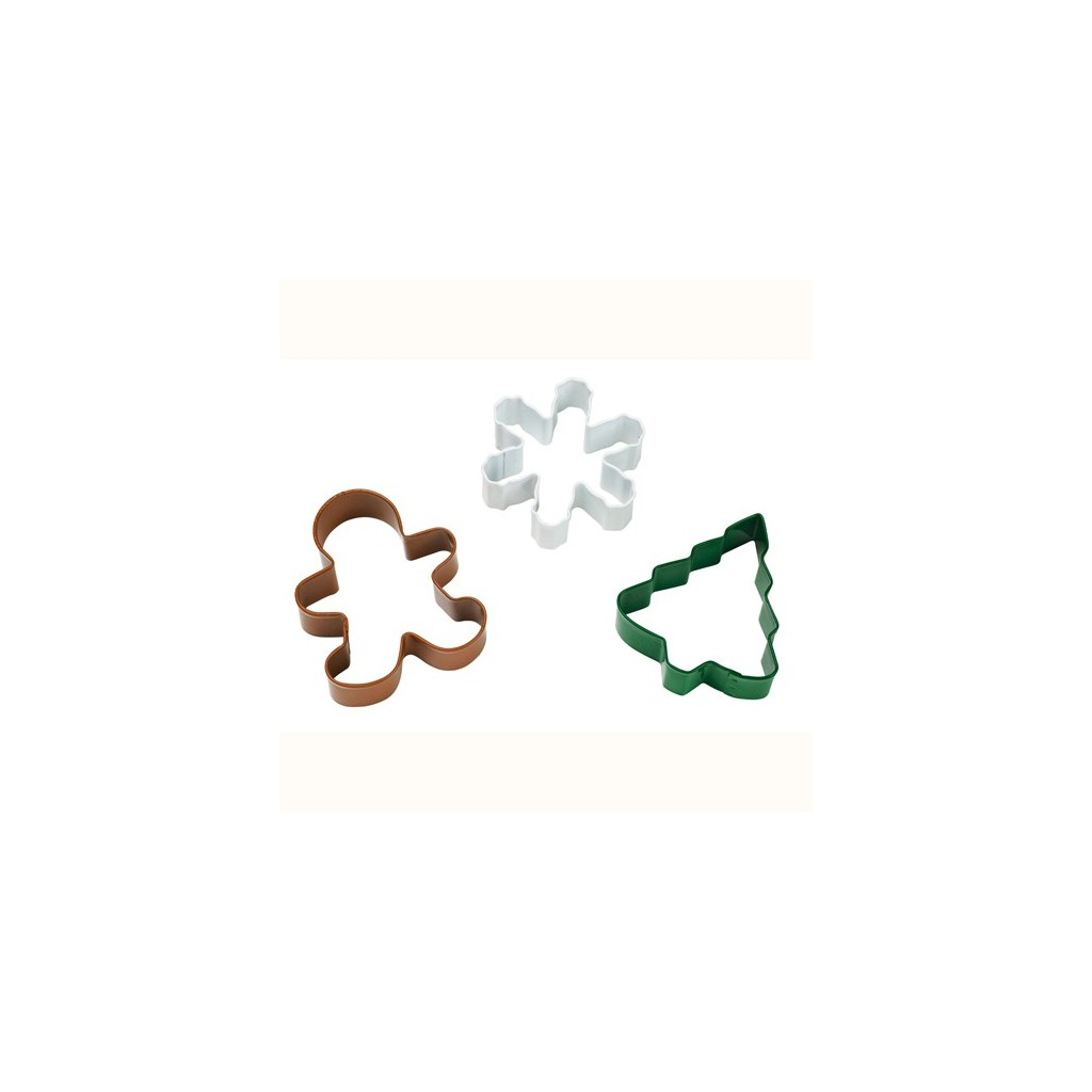 Wilton - 3 emporte-pièces flocon, bonhomme, sapin
