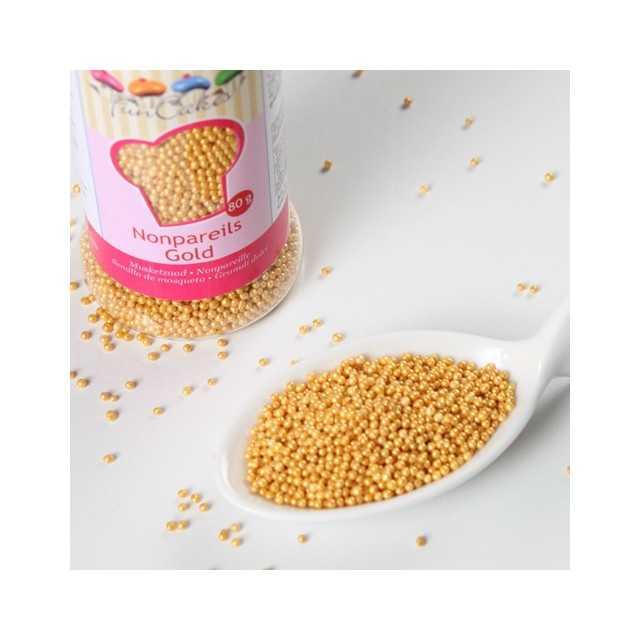 Funcakes - Mini billes de sucre dorées - 80 gr