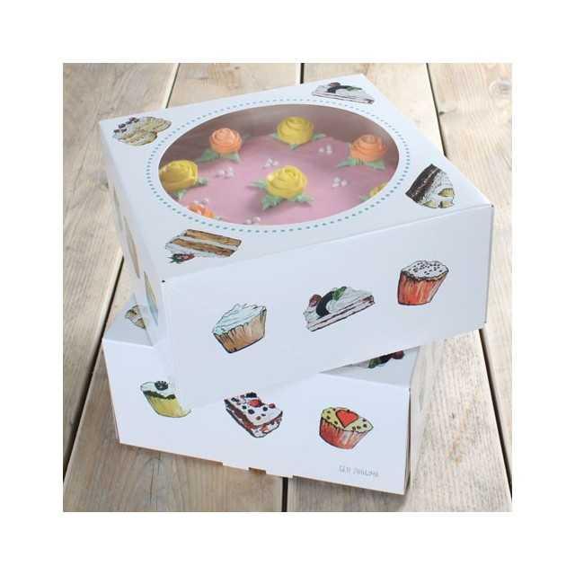 2 boites à gateaux Funcakes motif cakes 26x26x12 cm