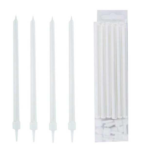 Modecor - 12 grandes bougies blanc perle nacré  de 11.5cm