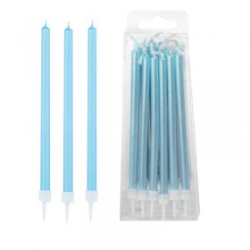 Modecor - 12 grandes bougies bleu clair nacré  de 11.5cm