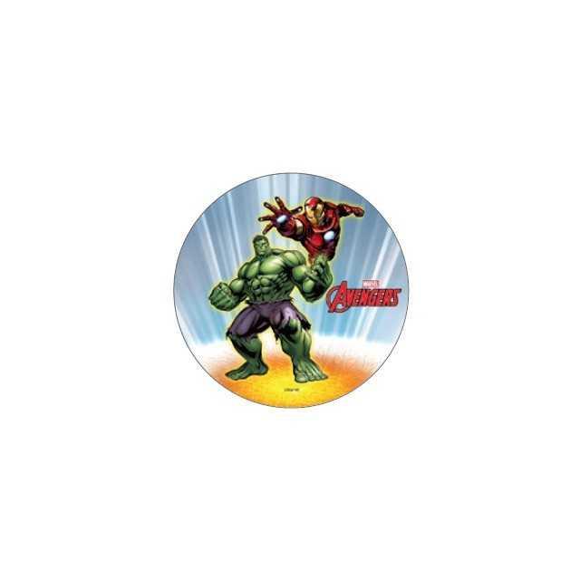 Disque gateau Avengers Iron man & Hulk en pate à sucre