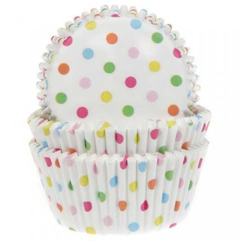 HoM - 50 caissettes cupcakes pois arc-en-ciel