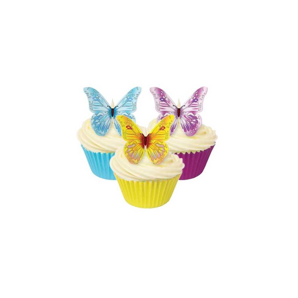 12 d corations papillons comestibles h 5 cm univers cake - Decoration gateau papillon ...