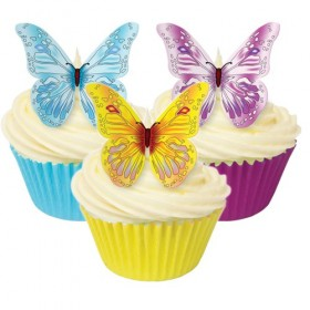 12 décorations papillons comestibles - H 5 cm