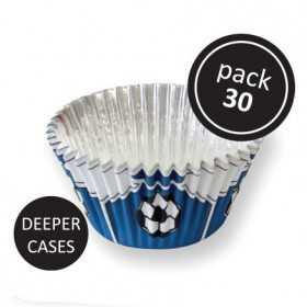 30 caissettes cupcakes football bleu alu