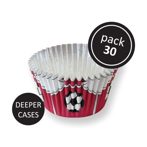 30 caissettes cupcakes foot rouge alu