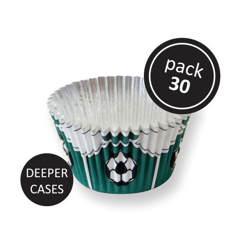 30 caissettes cupcakes foot vert alu