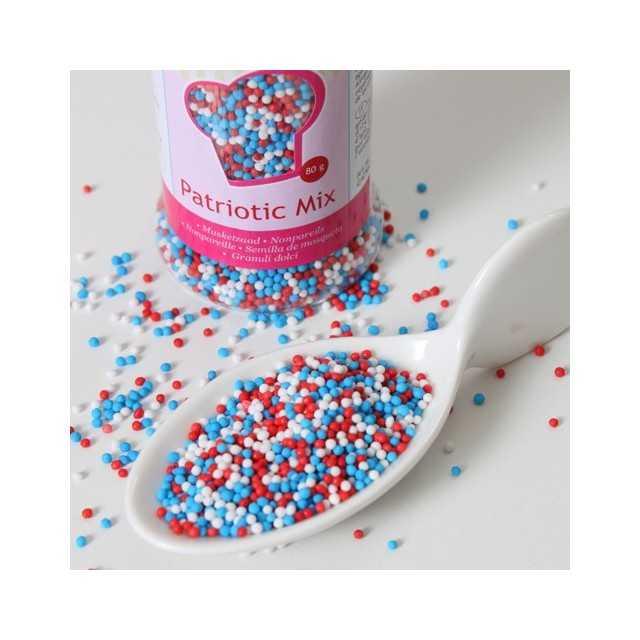 Funcakes - Mini billes de sucre bleu blanc rouge