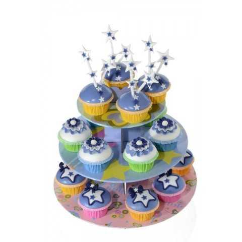 Présentoir à cupcakes déco bleu Modecor