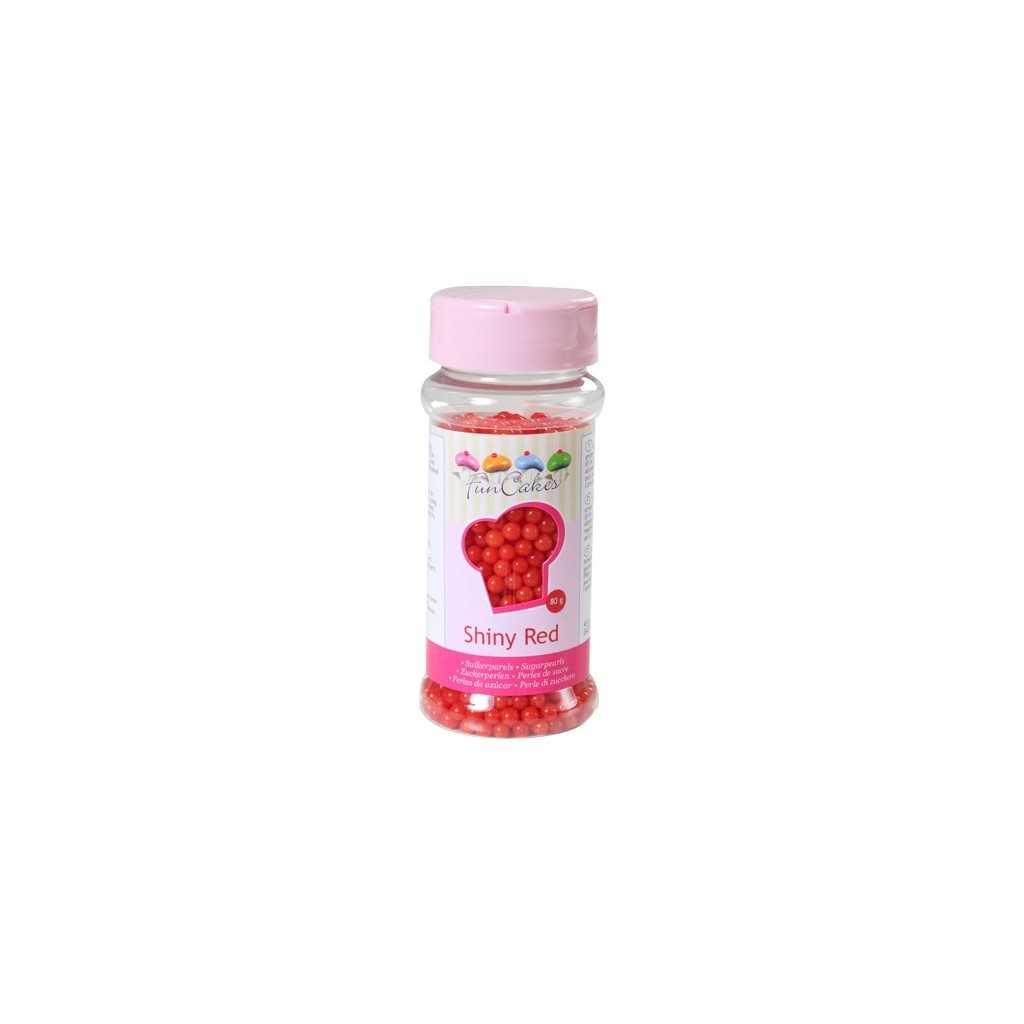 Perles de sucre rouge brillant Funcakes 80 gr