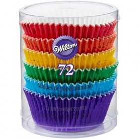 Wilton - 72 Caissettes cupcakes arc en ciel papier & alu