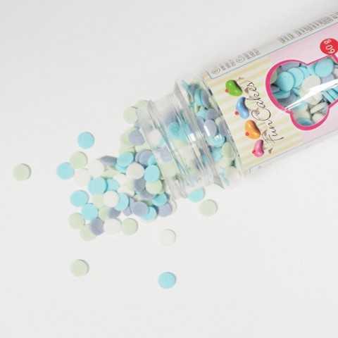 Confettis en sucre bleu, turquoise, vert, blanc - Ø6 mm