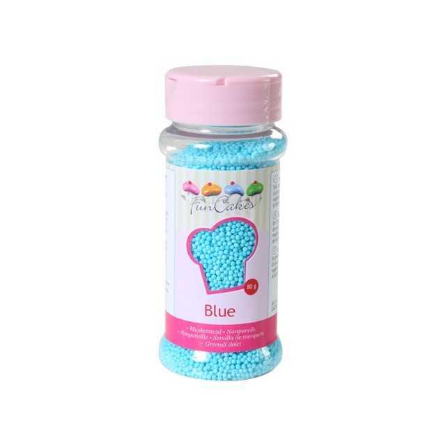 Microbilles de sucre bleu ciel Funcakes 80 gr