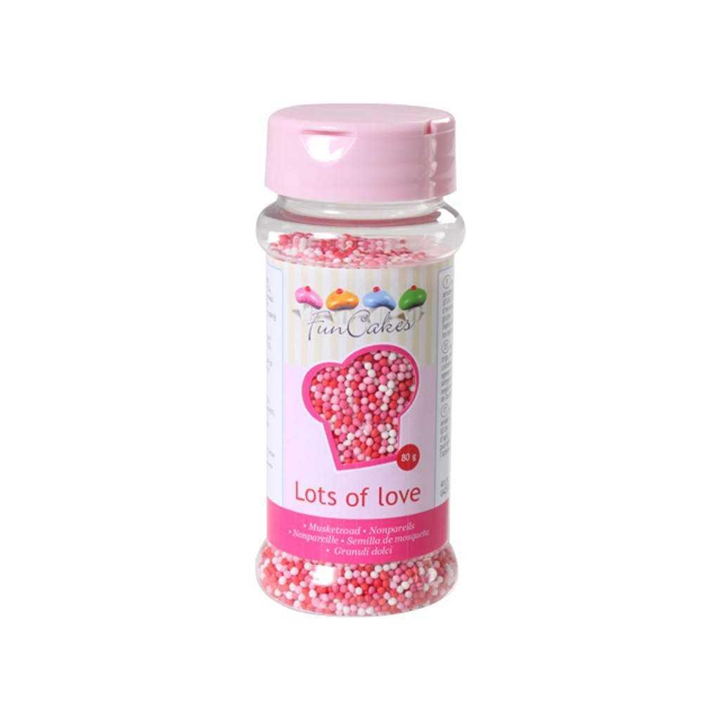Microbilles de sucre blanc rose et rouge Funcakes 80 gr