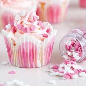 Petits coeurs roses et blancs Funcakes 60 gr