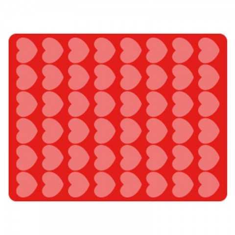 Tapis en silicone pour chocllat - Impression coeurs de 44x34 mm