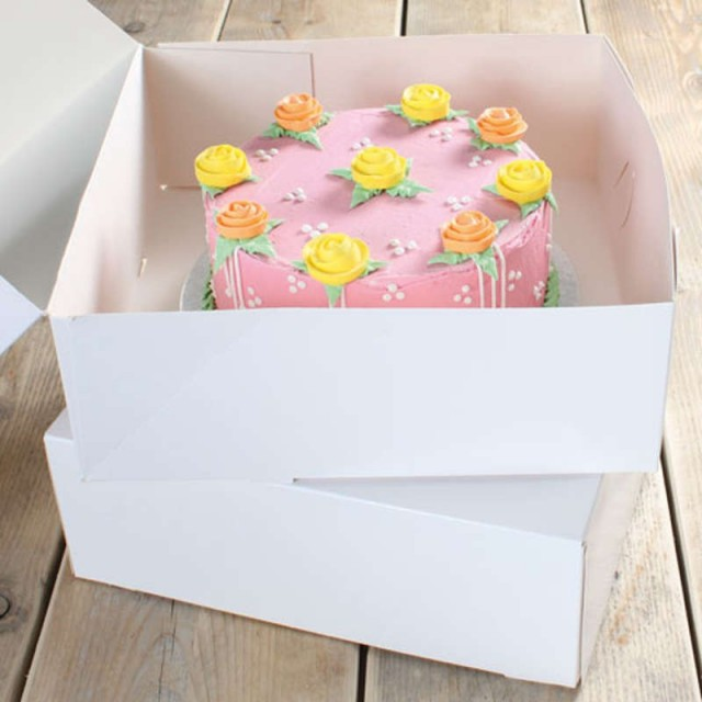 2 boites à gâteau en carton blanc - Boites 32x32x11.5 cm