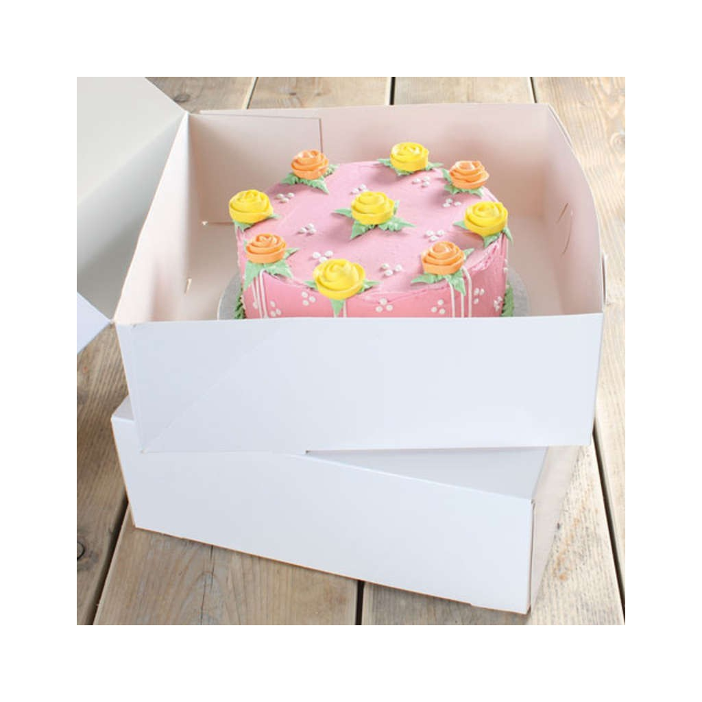 2 boites g teau en carton blanc pour transporter votre p tisserie. Black Bedroom Furniture Sets. Home Design Ideas