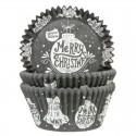 HoM - 50 Caissettes Cupcakes boules de Noël sur fond noir